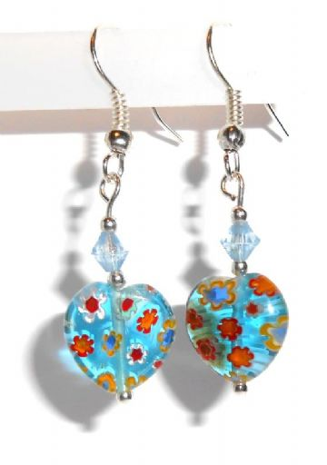 Murano Glass Heart Drop Earrings
